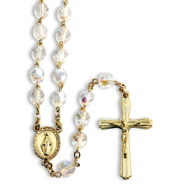 Aurora BorealisCrystal Beads Rosary Miraculous Medal