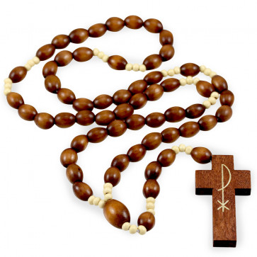 Oval Wooden Beads Catholic Rosary