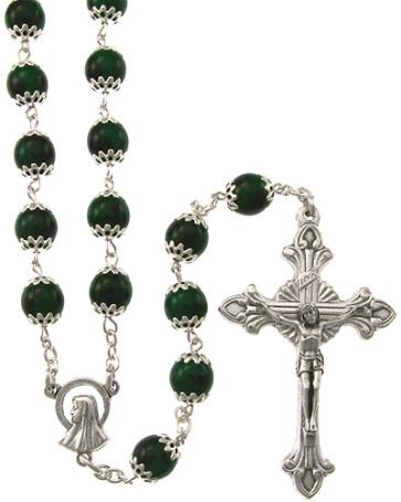 Moonstone Capped Beads Catholic Rosary