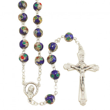 Blue Cloisonne Beads Catholic Rosary