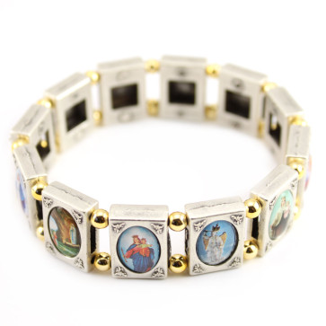 Holy Images Two-Tone Metal Catholic Bracelet