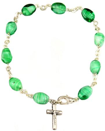 Glass Cone Beads Catholic Rosary Bracelet