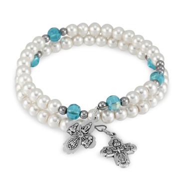 Pearl Beads Catholic Rosary Bracelet