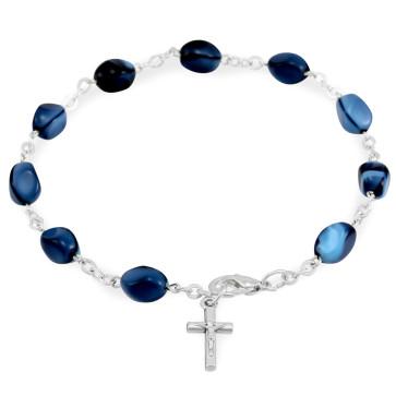 Blue Glass Beads Rosary Catholic Bracelet