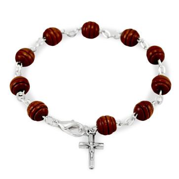 Wooden Beads Catholic Rosary Bracelet