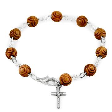 Hand Carved Wooden Beads Rosary Catholic Bracelet