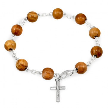 Olive Wood Beads Catholic Rosary Bracelet