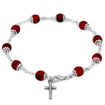 Catholic Rosary Bracelet with Capped Beads