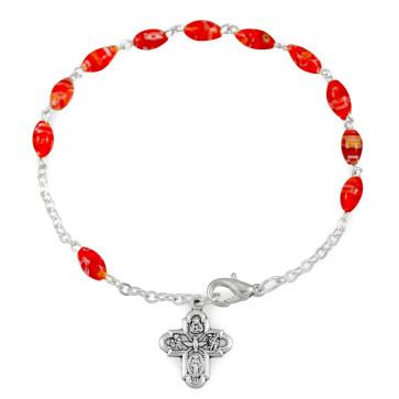 Red Glass Beads Rosary Catholic Bracelet