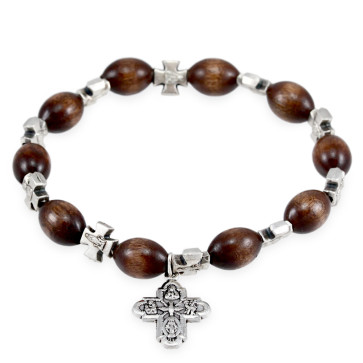 Rosary Bracelet Wooden Beads Four Way Cross