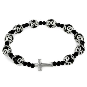 Black Glass Beads Filigree Rosary Bracelet