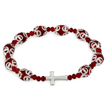 Rosary Bracelet Red Filigree Capped Glass Beads