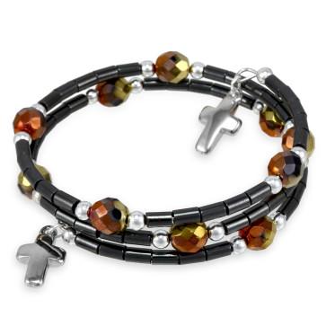Wrap Around Rosary Bracelet Hematite Beads
