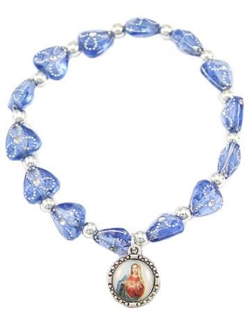 Catholic Rosary Bracelet, Sacred Heart of Mary Medal