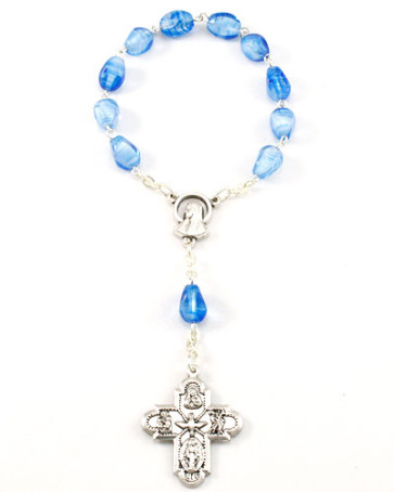 Decade Catholic Rosary, Oval Glass Beads