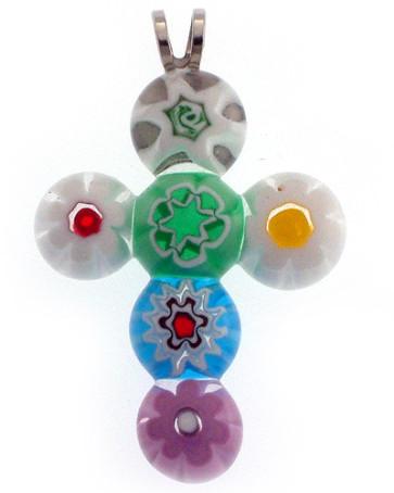 Murano Beads Cross Catholic Pendant