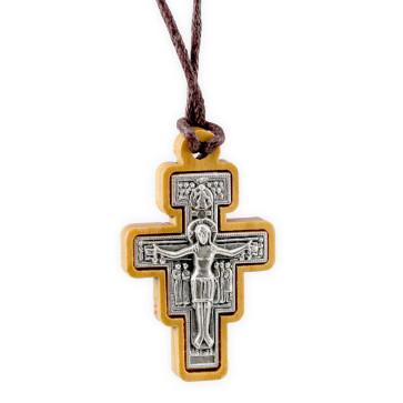 San Damiano Wooden Crucifix Catholic Pendant