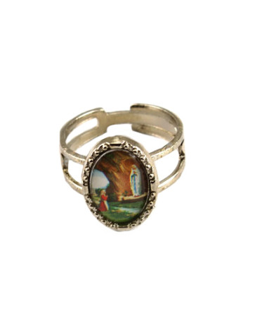 Our Lady of Lourdes Silver Catholic Ring