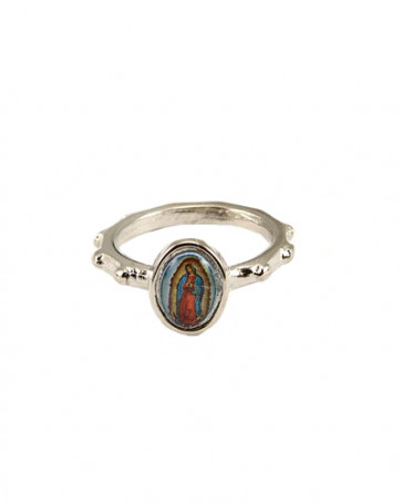 Our Lady of Guadalupe Silver Catholic Rosary Ring