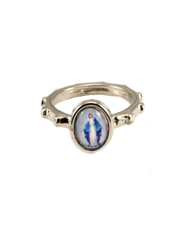 Our Lady of Grace Silver Catholic Rosary Ring