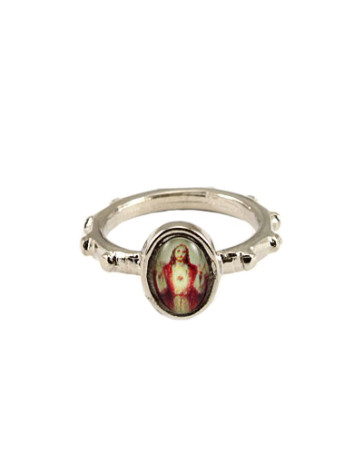 Sacred Heart of Jesus Silver Catholic Rosary Ring