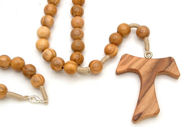 Olive Wood Tau Catholic Rosary