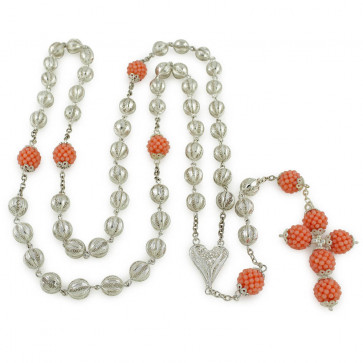 Sterling Silver Catholic Rosary Coral