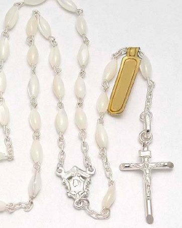 Mother of Pearl Oval Beads Catholic Rosary