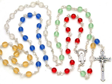 Multi-Colored Crystal Beads Catholic Rosary