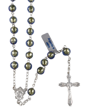Glass over Gold Beads Catholic Rosary