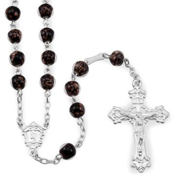 Glass Beads Rosary Glass Beads w/ Gold Flecks Catholic Rosary