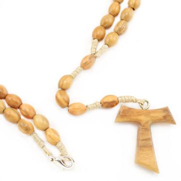 Olive Wood Tau Catholic Rosary
