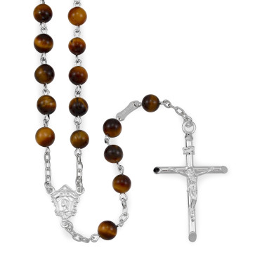 Tiger Eye Beads Catholic Rosary
