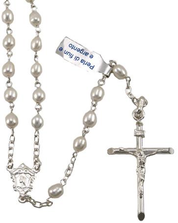Oval Pearl Beads Catholic Rosary