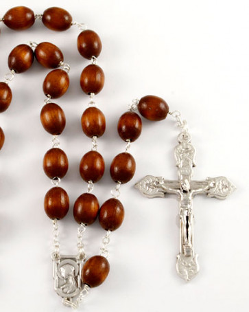 Long Wooden Catholic Rosary