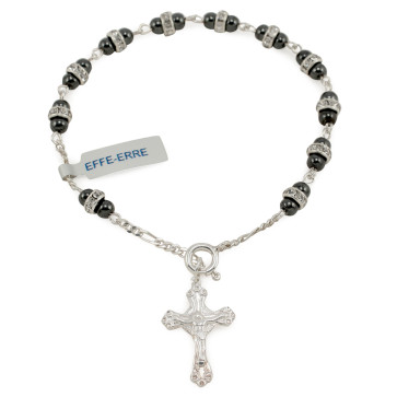 Hematite and Crystal Rosary Bracelet