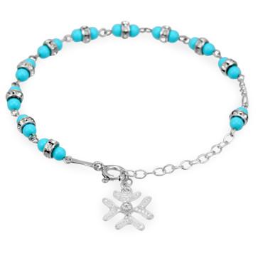 Turquoise Beads w/ Swarovski Crystal Rings Rosary Bracelet