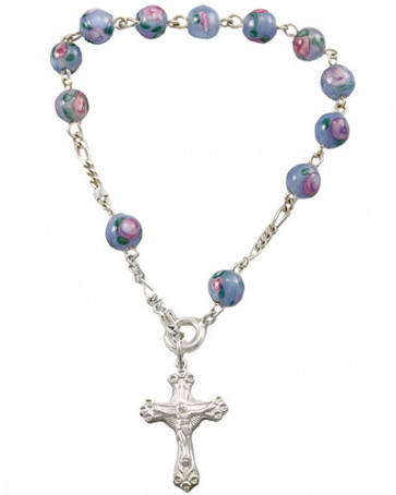 Blue Beads Sterling Silver Rosary Catholic Bracelet