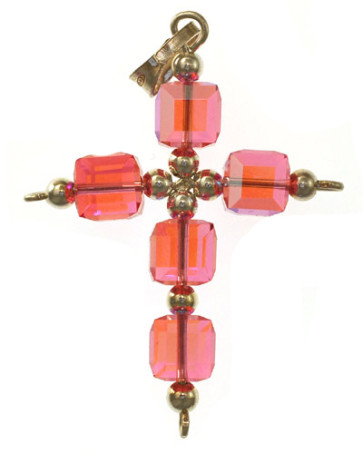 Pink Swarovski Crystal Cross Catholic Pendant