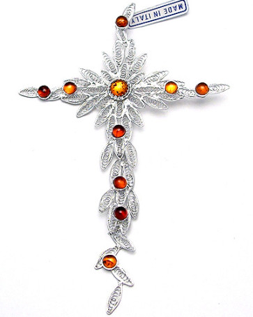 Sterling Silver Cross Catholic Pendant w/ Amber Stones