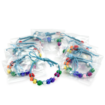 First Communion Favor with 10 Multicolored Bracelets Blue String