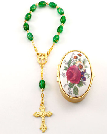 Catholic Decade Rosary with Flower Box
