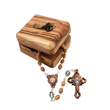 St. Benedict Olive Wood Rosary w/ Chalice Wooden Box