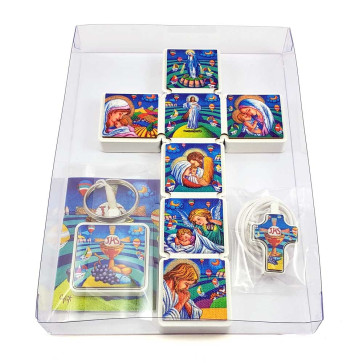 First Communion Gift Set -Wall Cross Colorful Artistic Wall Cross Pendant and Keyriing