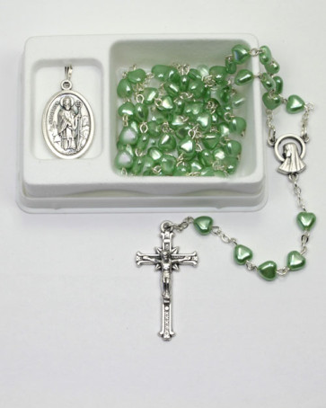 St. Patrick Green Heart Beads Rosary Gift Set