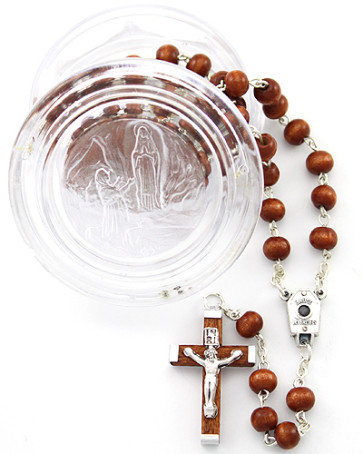 Catholic Our Lady of Lourdes Rosary w/ Plastic Box