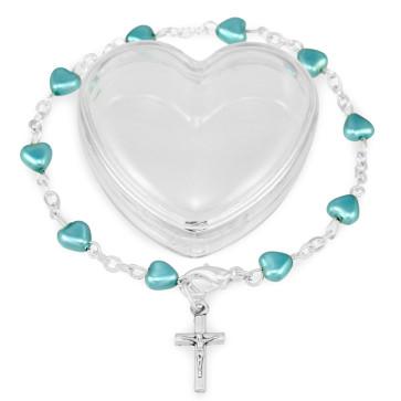 Blue Heart Beads Rosary Bracelet Gift Set