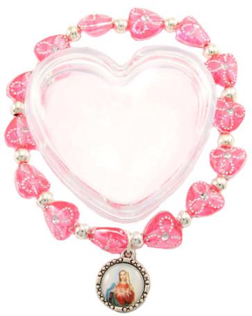 Catholic Heart Beads Bracelet in Heart Shape Box
