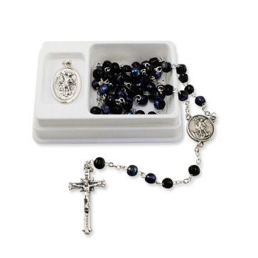 St. Michael Black Crystal Beads Rosary Gift Set