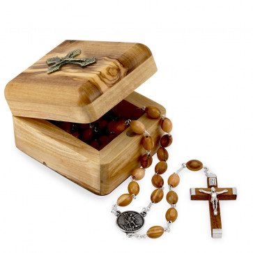 Olive Wood Rosary Gift Set with a Celtic Cross